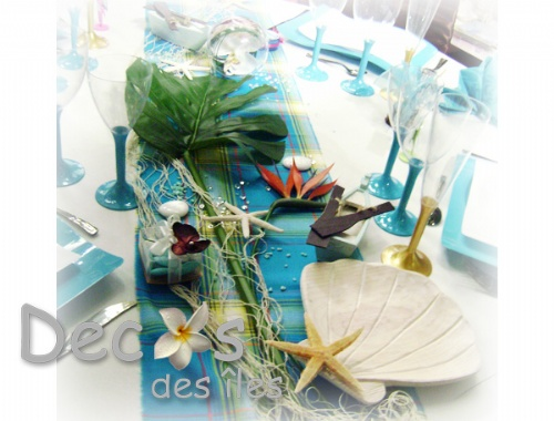 Decoration table theme madras turquoise - Deco table mer ...